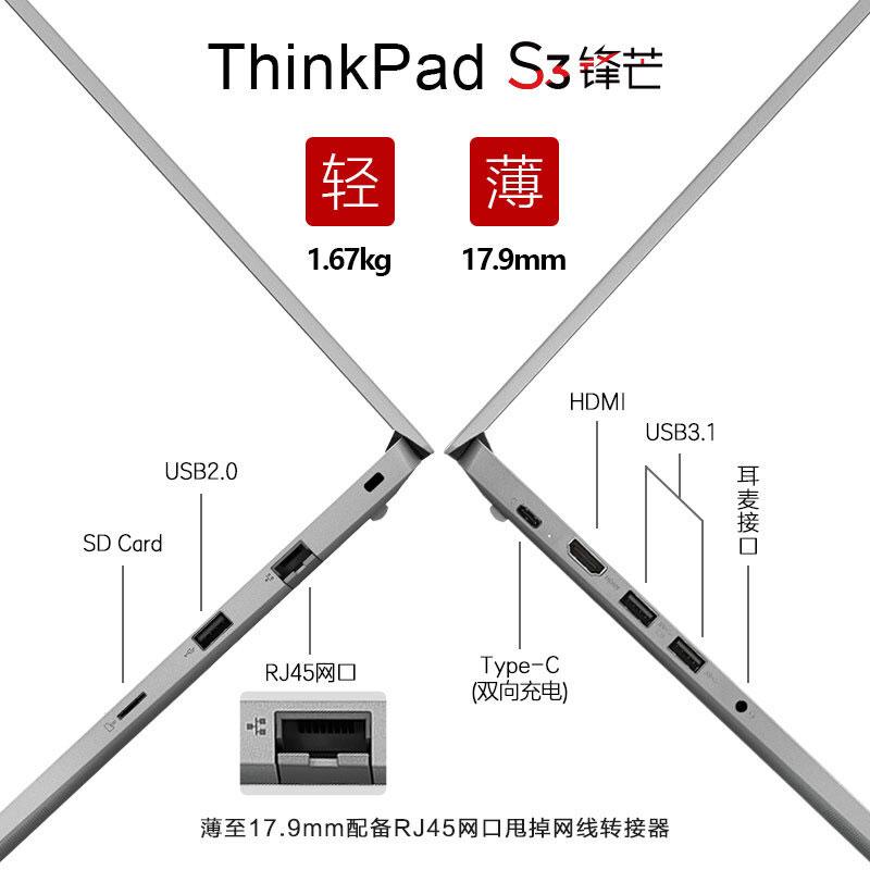 ThinkPad S3 2019 英特尔酷睿i5 笔记本电脑图片